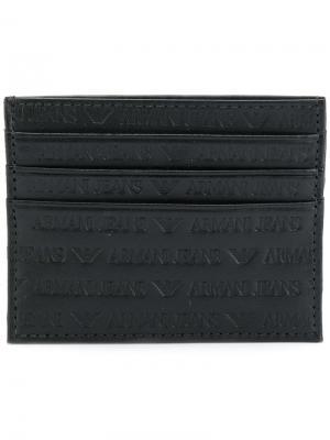 Визитница с тисненым логотипом Armani Jeans. Цвет: чёрный