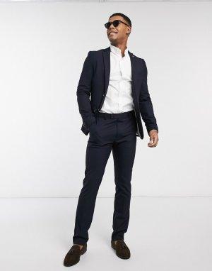 Темно-синий приталенный пиджак с золотистыми пуговицами Avail London