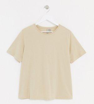 Светло-бежевая футболка из органического хлопка ASOS DESIGN Curve-Светло-бежевый Curve
