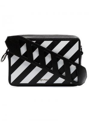 Поясная сумка с диагональными полосками Off-White. Цвет: черный