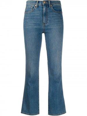 Укороченные расклешенные джинсы Tory Burch. Цвет: синий