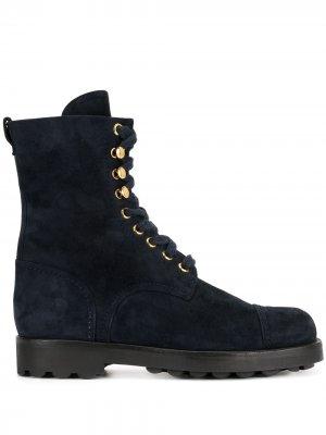Ботинки на шнуровке Chanel Pre-Owned. Цвет: синий