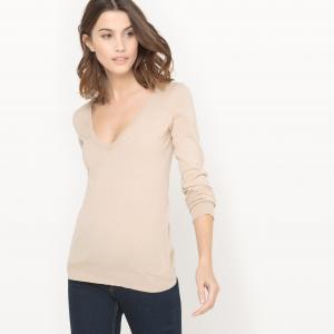 Пуловер с V-образным вырезом из хлопка La Redoute Collections. Цвет: бежевый