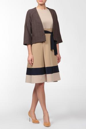 Комплект: жакет, платье Adzhedo. Цвет: коричневый, бежево-песочный