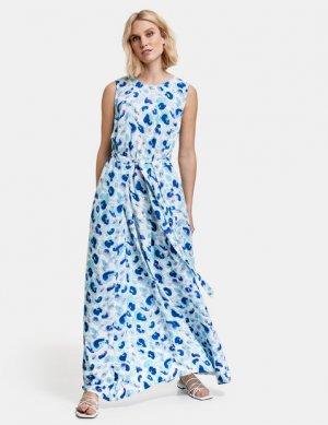 Длинное платье из вискозы с поясом TAIFUN Gerry Weber. Цвет: blue curacao patterned