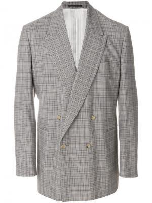 Клетчатый двубортный пиджак E. Tautz. Цвет: коричневый
