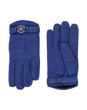 Перчатки VERSACE. Цвет: синий