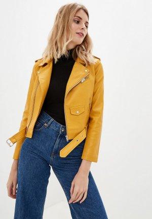 Куртка кожаная Elardis. Цвет: желтый