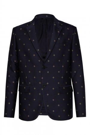 Синий пиджак с узорами Fendi. Цвет: черный