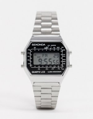 Серебристые цифровые часы -Серебряный Sekonda