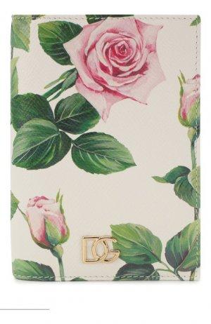Кожаная обложка для паспорта Dolce & Gabbana. Цвет: белый