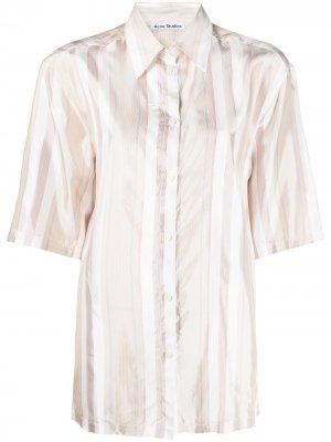 Полосатая рубашка с короткими рукавами Acne Studios. Цвет: белый
