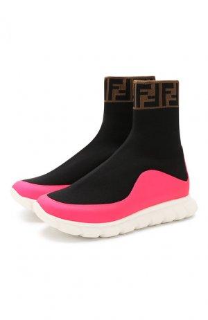 Текстильные кроссовки Fendi. Цвет: разноцветный