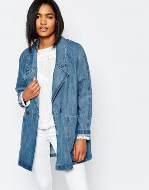Джинсовая oversize-куртка Vila. Цвет: синий