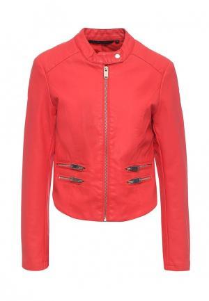 Куртка кожаная Silvian Heach. Цвет: красный