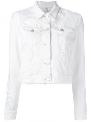 Рваная джинсовая куртка J Brand. Цвет: белый