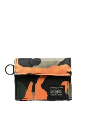 Кошелек с камуфляжным принтом Porter-Yoshida & Co.. Цвет: оранжевый