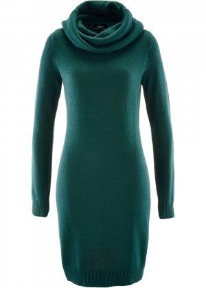 Платье вязаное bonprix. Цвет: сине-зеленый