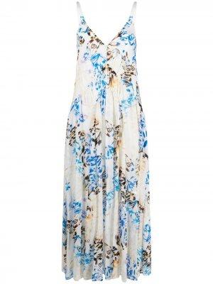 Платье макси с принтом Lala Berlin. Цвет: белый