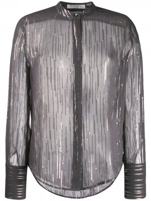 Рубашка в полоску с эффектом металлик Equipment. Цвет: черный