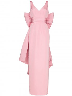 V-neck bow-detail maxi dress Carolina Herrera. Цвет: розовый