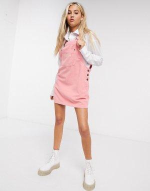 Вельветовое платье-комбинезон с логотипом -Розовый цвет Kickers