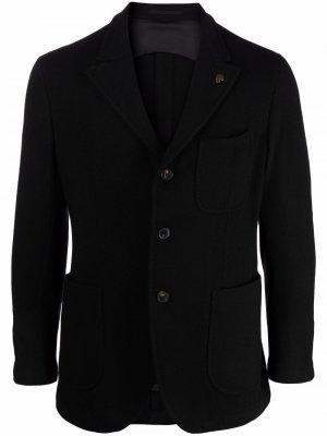 Однобортный пиджак со значком на лацкане Gabriele Pasini. Цвет: черный
