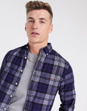 Синяя рубашка в клетку тартан классического кроя на пуговицах с карманом и логотипом -Голубой Gant
