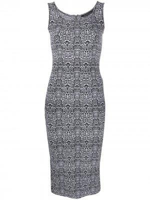 Приталенное платье с леопардовым принтом Antonino Valenti. Цвет: черный