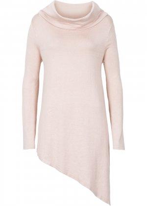 Пуловер с удлиненными боковыми краями bonprix. Цвет: бежевый