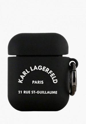 Чехол для наушников Karl Lagerfeld Airpods, Silicone case with ring RSG logo Black. Цвет: черный
