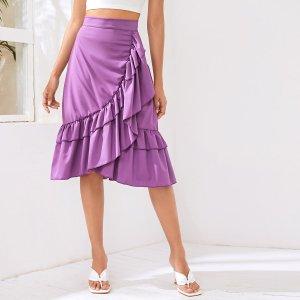 Миди юбка с высокой талией SHEIN. Цвет: сиреневый фиолетовый