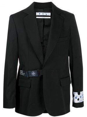 Strap-fastening single-breasted blazer Off-White. Цвет: черный