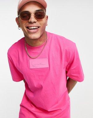 Розовая футболка с маленькой вставкой-логотипом -Розовый цвет Karl Kani