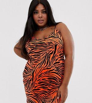 Платье-комбинация со звериным принтом ASOS DESIGN Curve-Мульти Curve