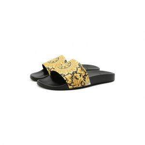 Кожаные шлепанцы Versace. Цвет: золотой