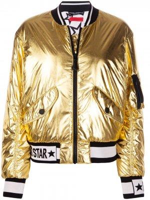 Куртка-бомбер с принтом Millennials Star Dolce & Gabbana. Цвет: золотистый