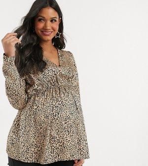 Блузка с глубоким вырезом и леопардовым принтом -Мульти Missguided Maternity