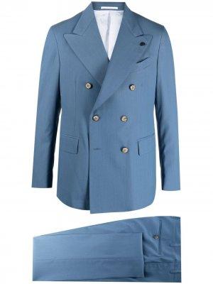 Строгий костюм с двубортным пиджаком Gabriele Pasini. Цвет: синий