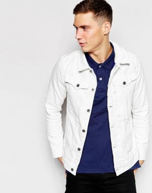 Белая состаренная джинсовая куртка слим 3301 3D G-Star. Цвет: белый