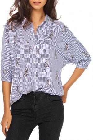 Блузка VILATTE. Цвет: синий, черный