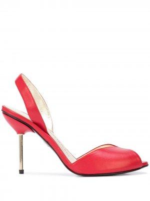 Босоножки на каблуке с эффектом металлик Charles Jourdan. Цвет: красный