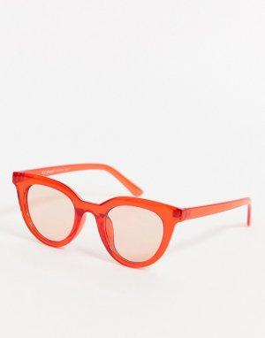 Красные солнцезащитные очки в круглой оправе -Красный AJ Morgan