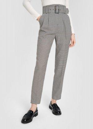 Зауженные брюки в «гусиную лапку» с поясом O`Stin. Цвет: пыльно-коричневый