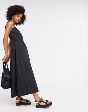 Черное платье макси с квадратным вырезом InWear-Черный цвет In Wear