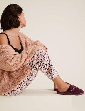 Тапочки-мюли с бантом и секретной поддержкой M&S Collection. Цвет: темный розовый