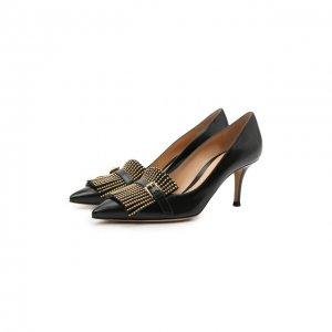 Кожаные туфли Fringe Gianvito Rossi. Цвет: чёрный
