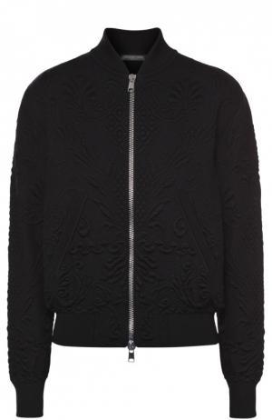 Бомбер с фактурной отделкой и карманами Alexander McQueen. Цвет: черный