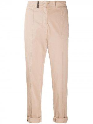 Укороченные брюки чинос Peserico. Цвет: нейтральные цвета