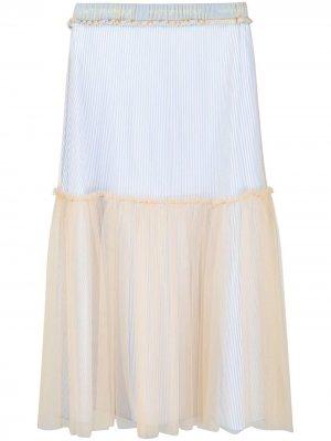 Мини-юбка с наружными швами и вставкой из тюля Viktor & Rolf. Цвет: белый